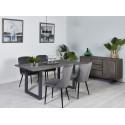Table 240 cm AWA Gris Bois Acacia massif et pieds carrés métal gris