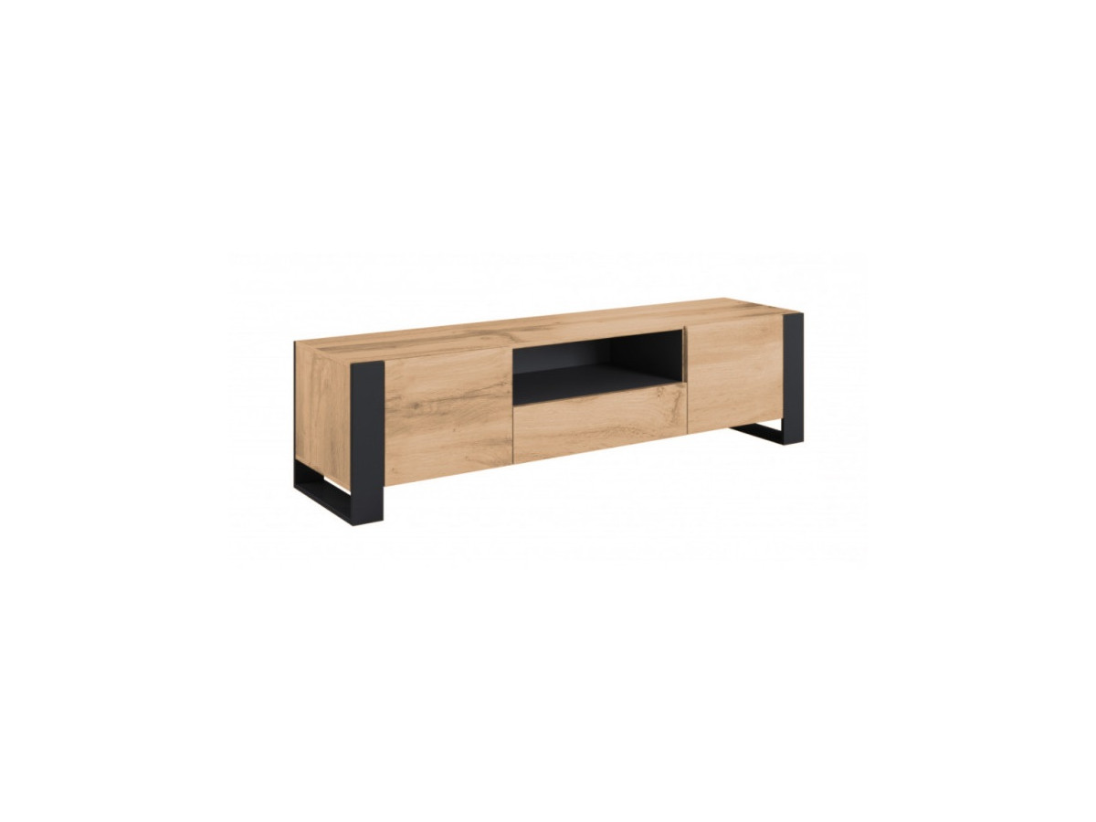 Meuble TV 180 cm NUNKI imitation bois et anthracite