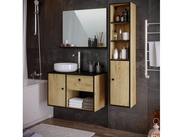 Ensemble de salle de bain 80 cm ITAMPA avec colonne chêne et noir