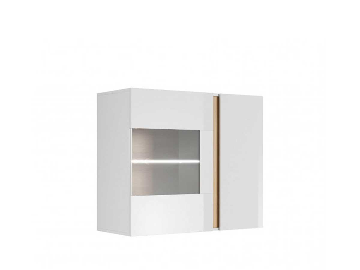 Vitrine 72 cm ARCOMA Blanc brillant et Chêne