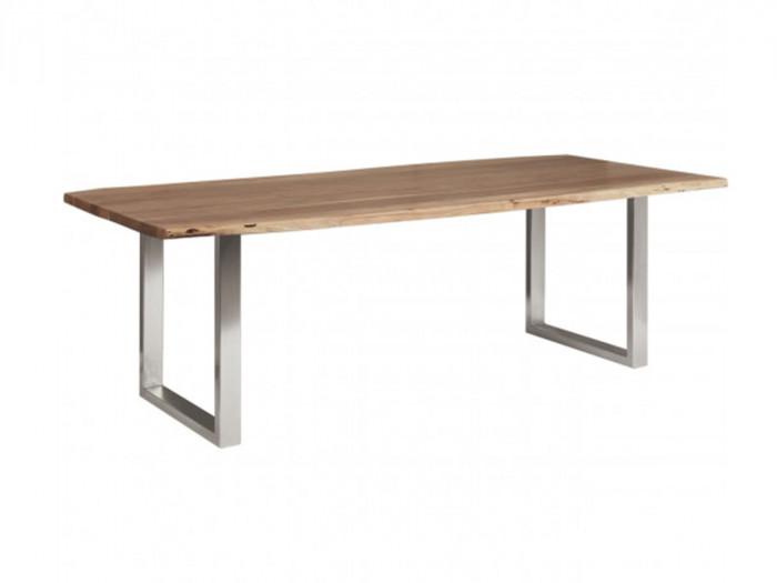 Table 200 cm AWA Bois acacia massif et Pieds carrés métal chromé