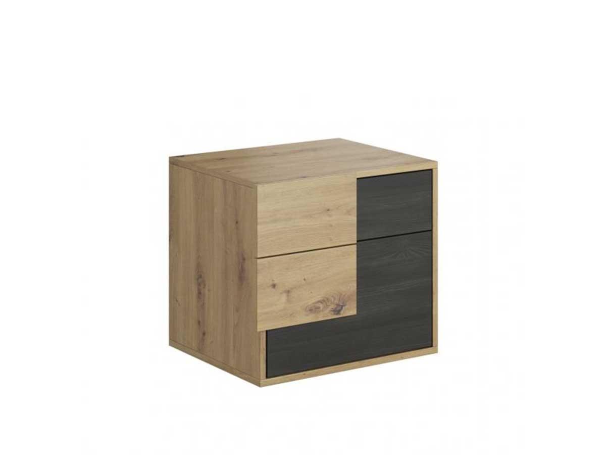 Chevet 2 tiroirs AKONOMA Chêne rustique et noir