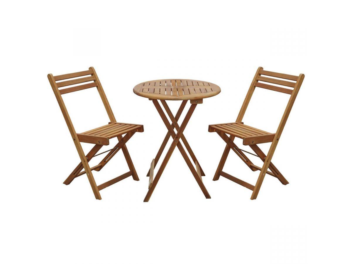 Ensemble table de repas ronde + 2 chaises FIRA Acacia massif