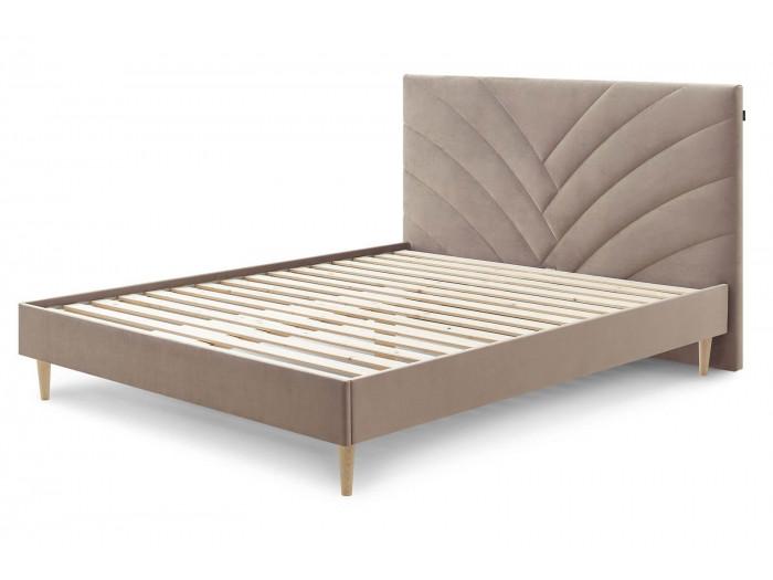 Structure de lit VELVET avec lattes massives pieds en bois naturel 160 x 200 cm