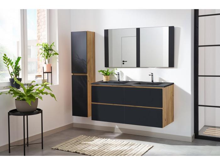 Ensemble de salle de bain AKELA 120 cm couleur chêne et noir