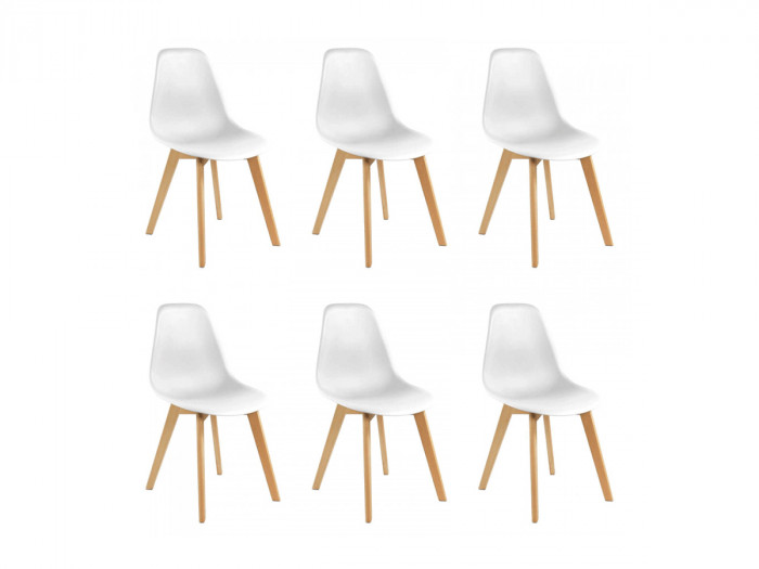 Lot de 6 chaises ENKE Blanc
