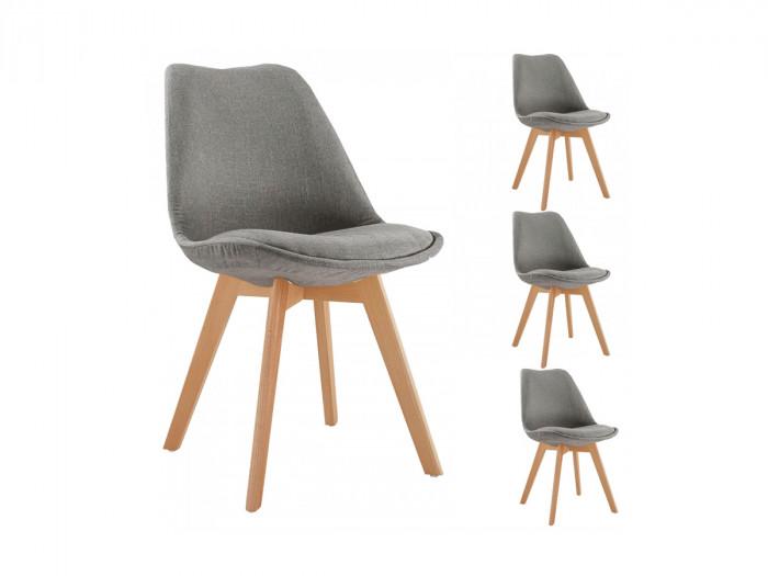 Lot de 4 chaises en tissu gris ARIAL