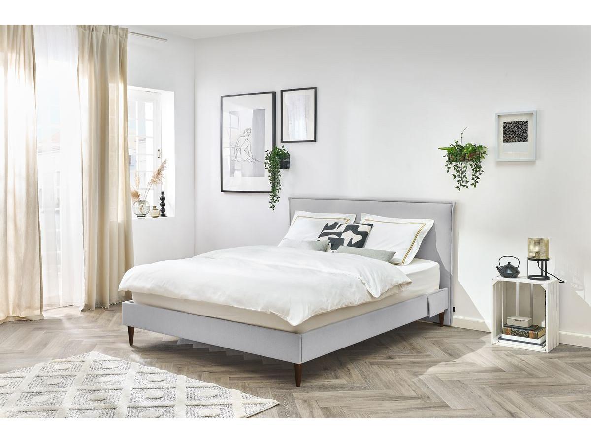 Lit 160x190 cm SARY avec pochettes et lattes massives pieds en bois wengé