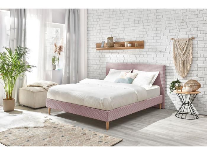 Structure de lit ANJA avec lattes massives pieds en bois naturel 140 x 190 cm