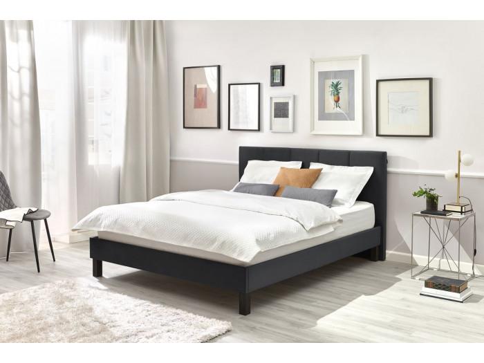 Structure de lit VIVARA avec lattes massives pieds carrés en bois wengé 140 x 190 cm