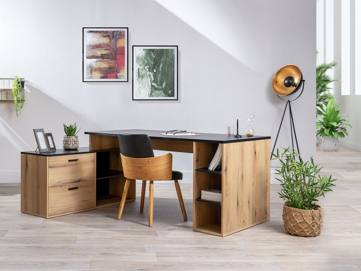 Bureau 183 cm PRAGUE chêne rustique