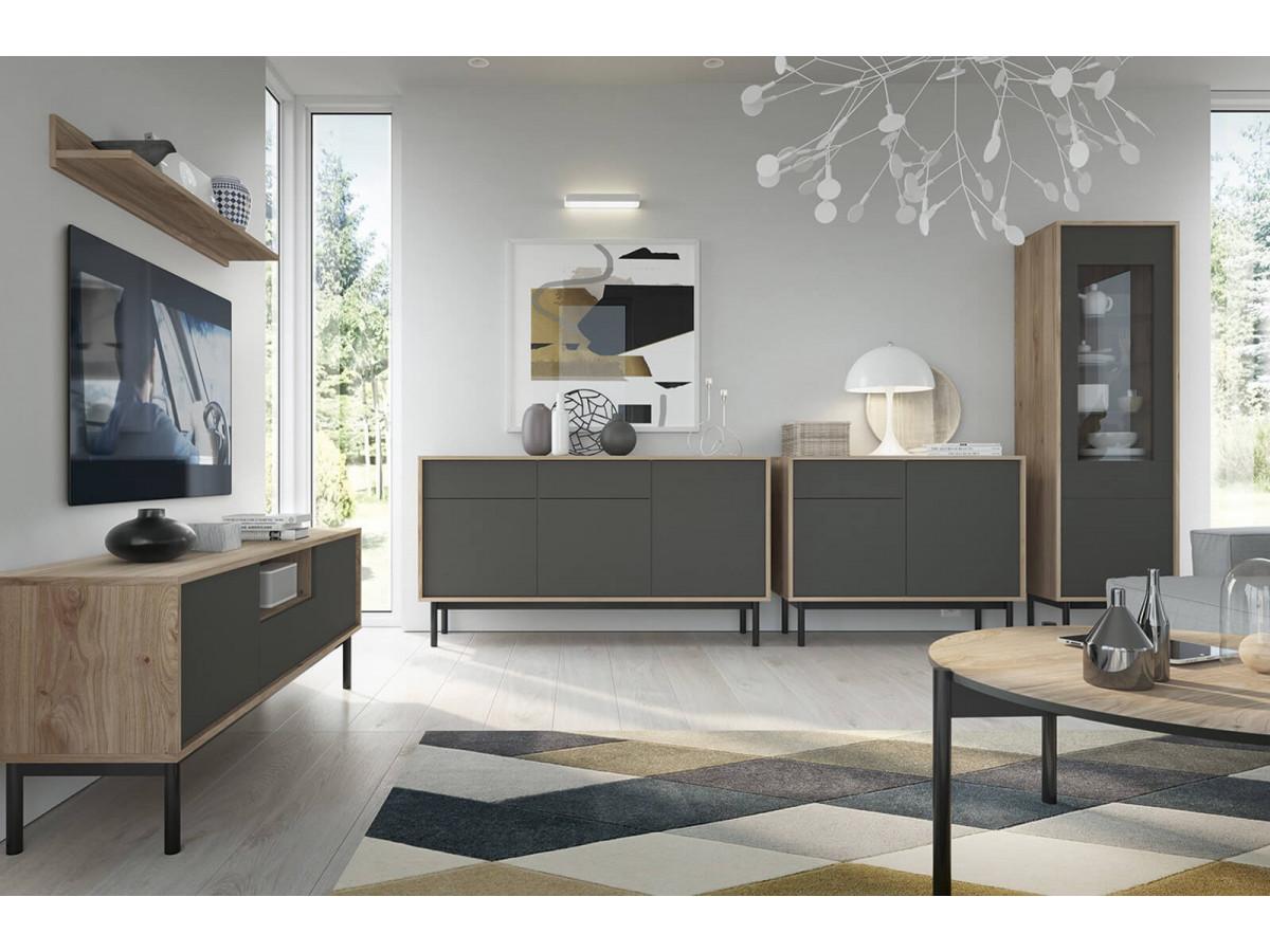 Meuble TV 104cm BASIC Bois et Graphite