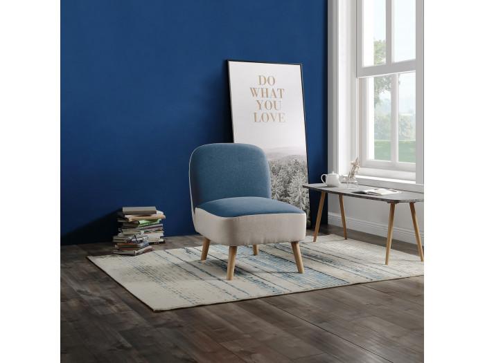 Fauteuil BEVERLY bleu et blanc