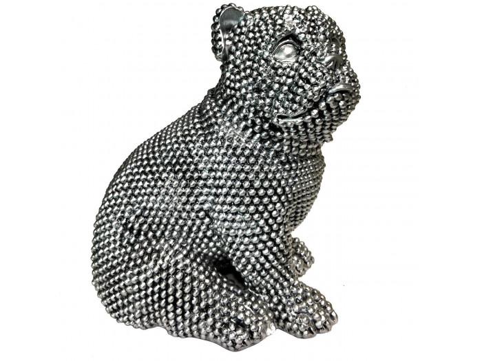 Statue RIXI chien argenté