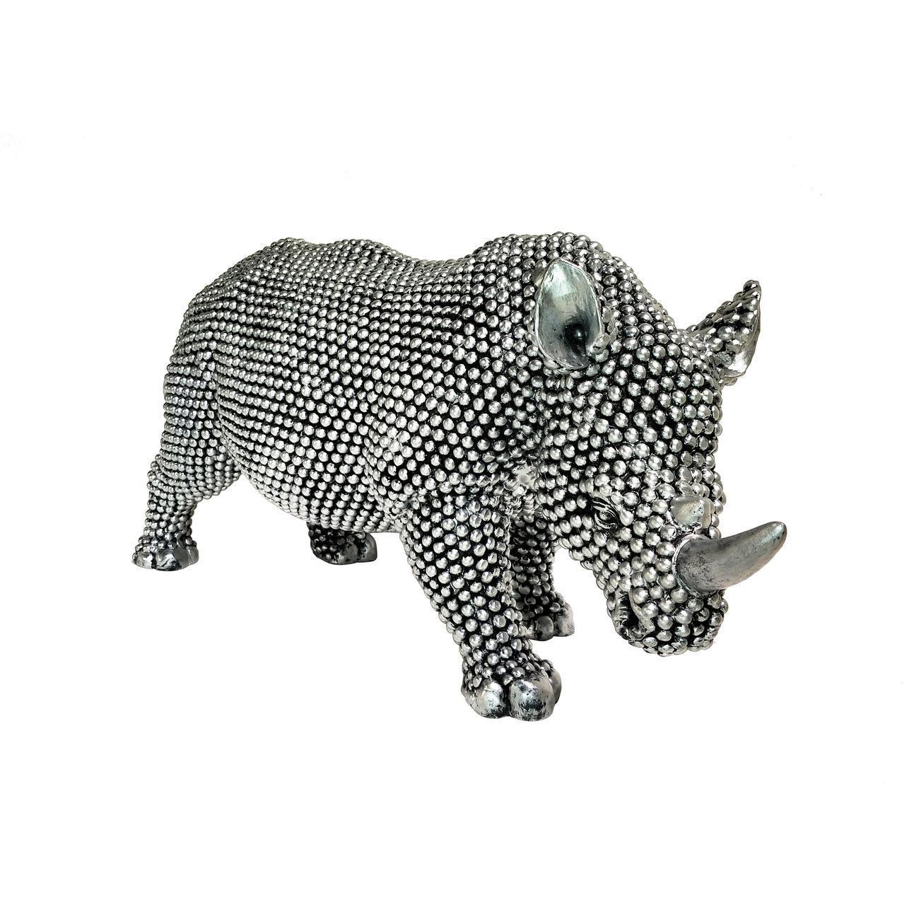 Statue elegante de rhinoceros en polyresine Rino Argent1