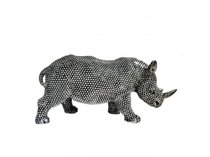 Statue elegante de rhinoceros en polyresine Rino Argent2