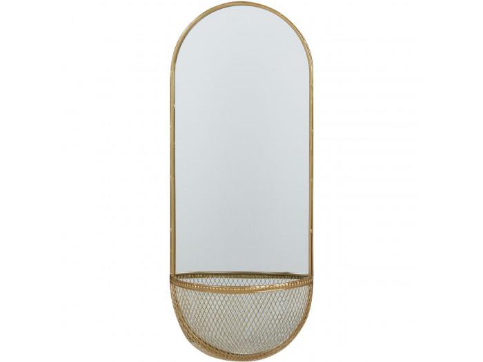 Miroir et tendance de forme ovale avec structure en metal et son panier Volg1