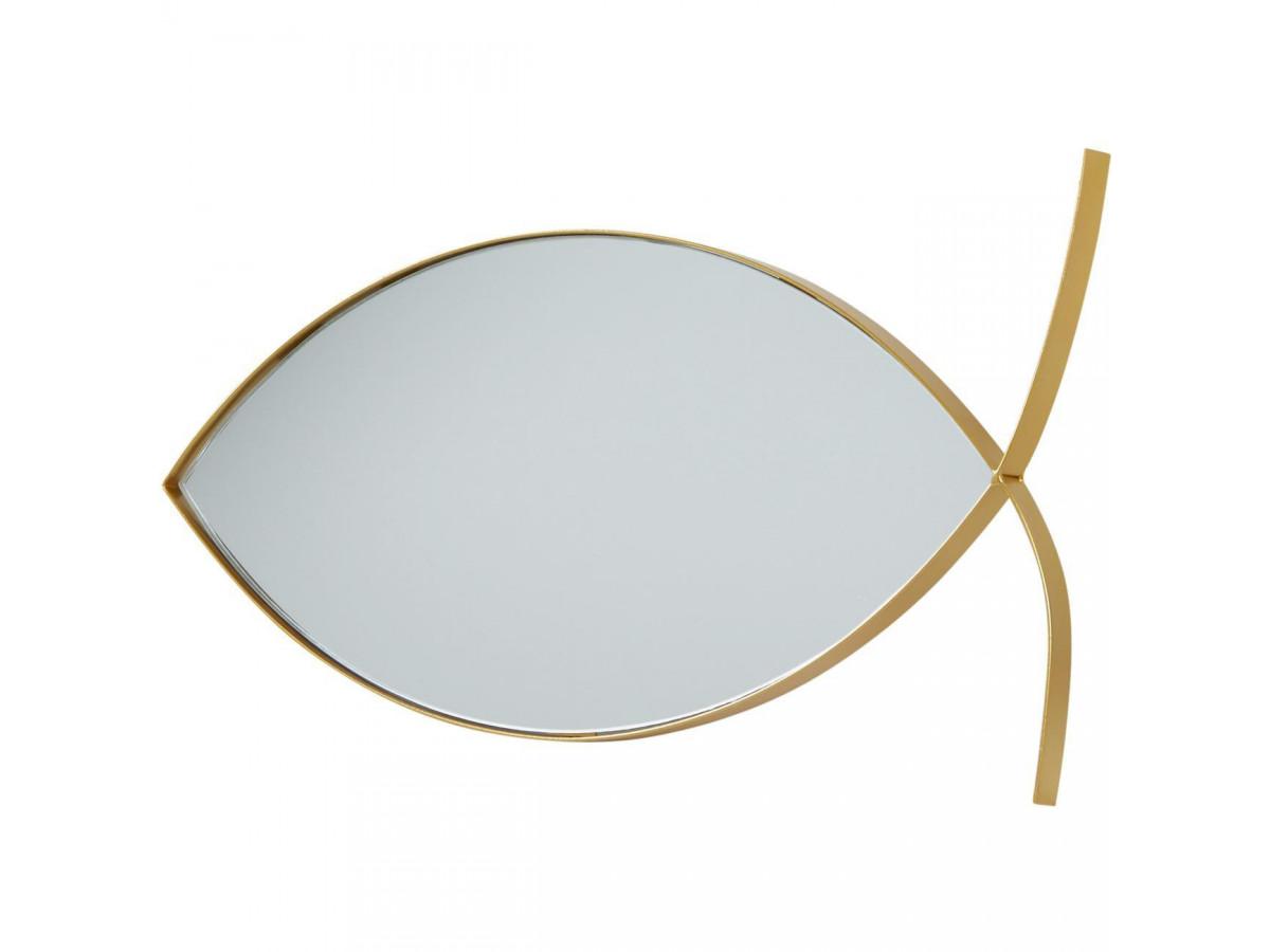 Miroir poisson OLGA en métal doré