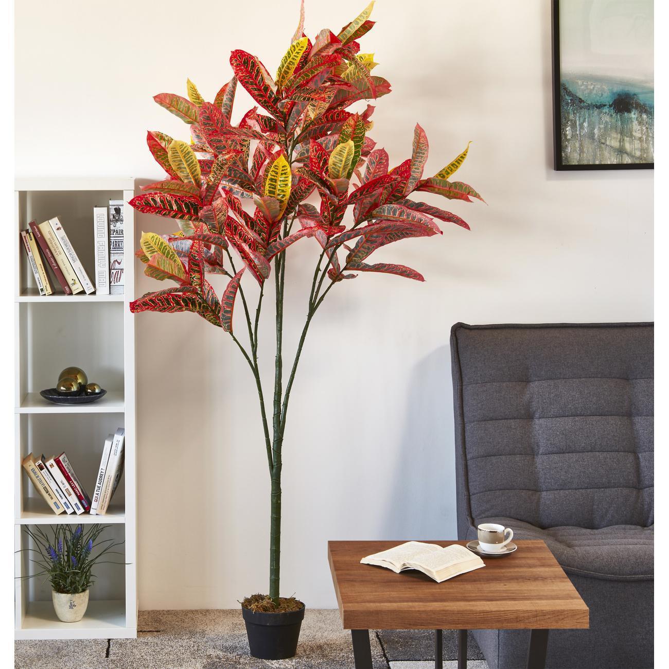 Plante artificielle en polyethylène a 128 feuilles avec son pot noir Olla1