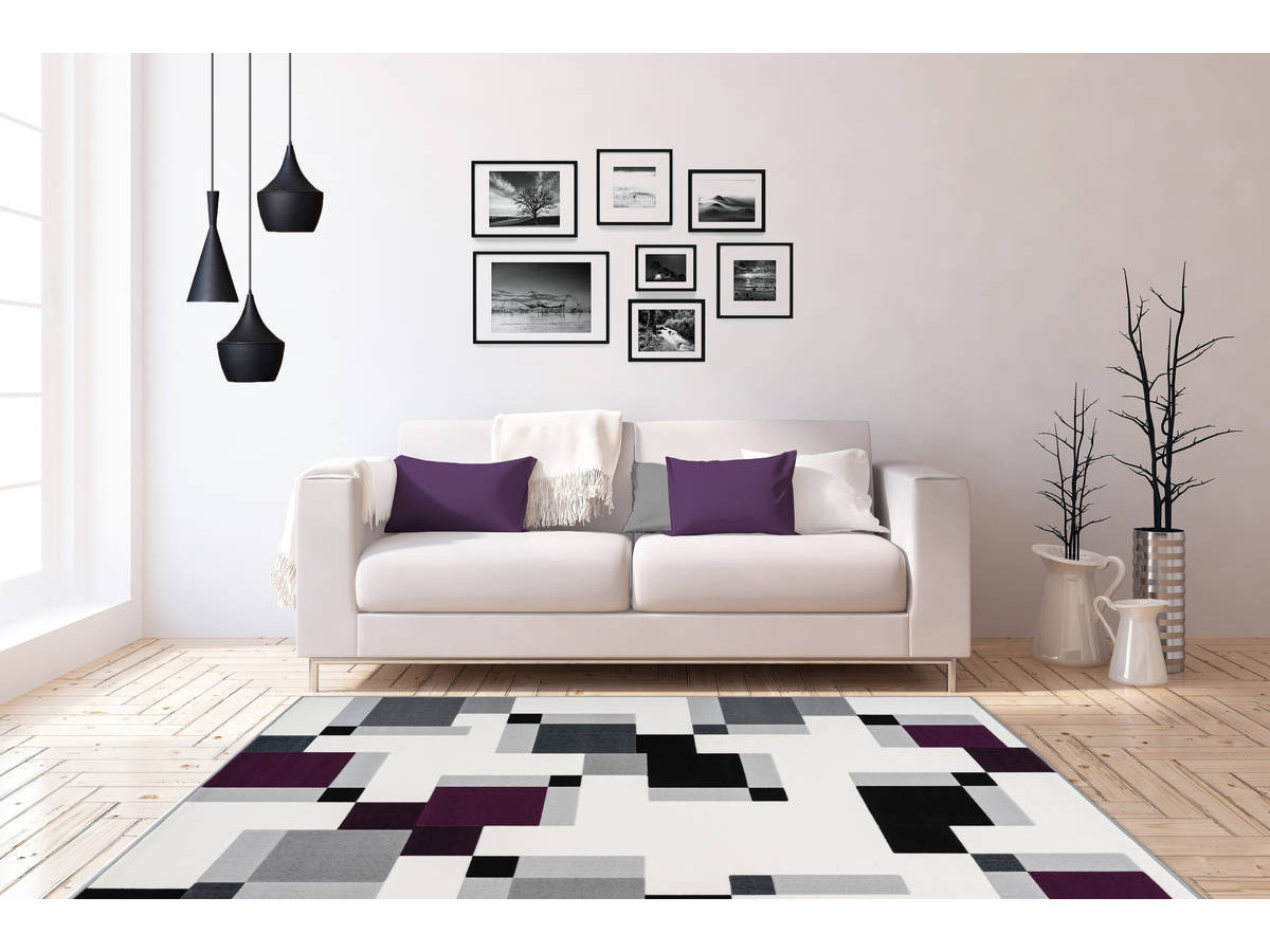 Tapis LUCIO Ivoire / Violet 160cm x 230cm1