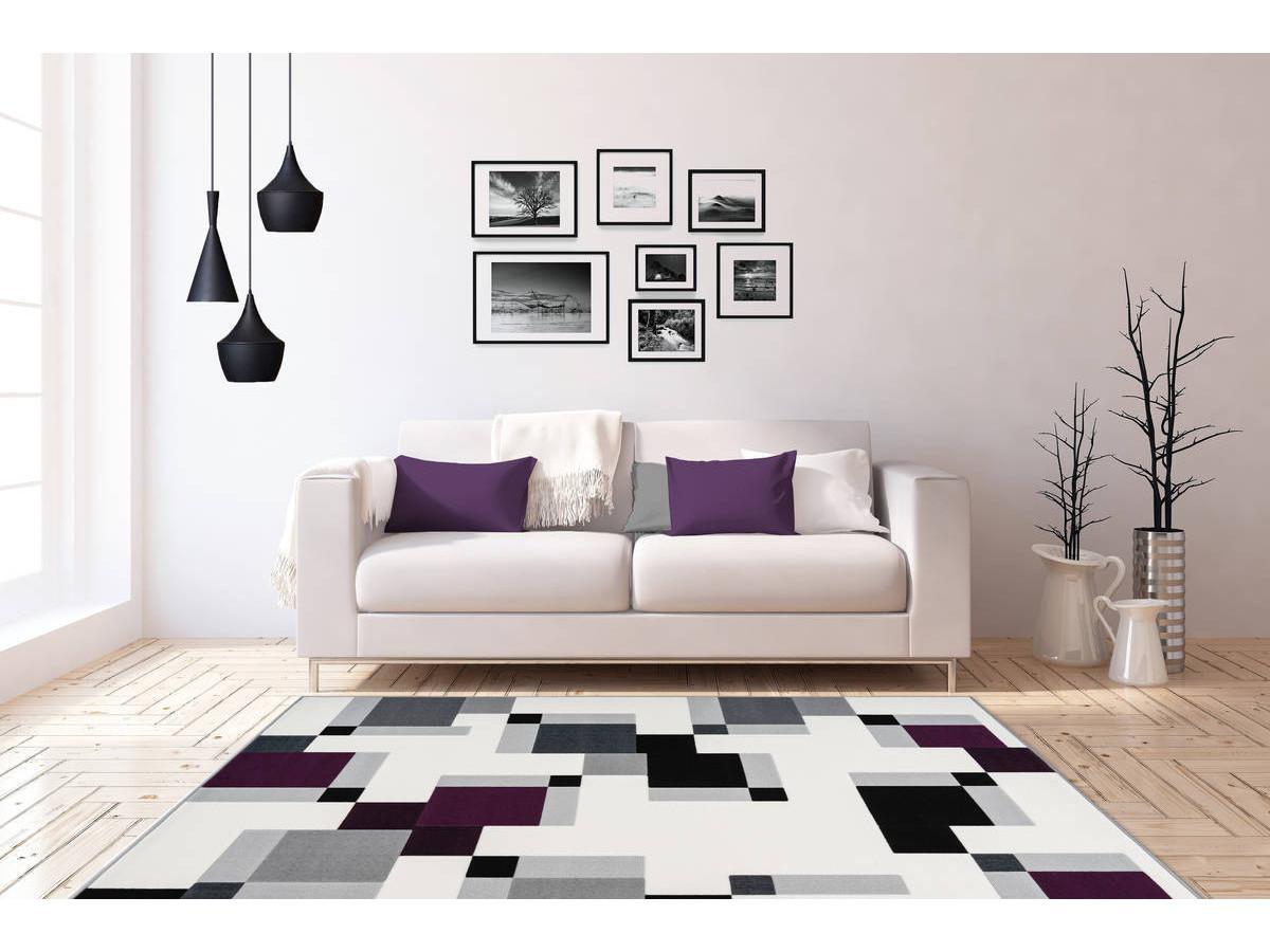 Tapis LUCIO Ivoire / Violet 200cm x 290cm1