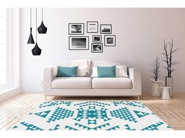 Tapis ZIKA Blanc/ Turquoise 120cm x 170cm1
