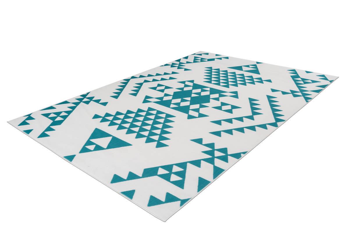 Tapis ZIKA Blanc/ Turquoise 120cm x 170cm2