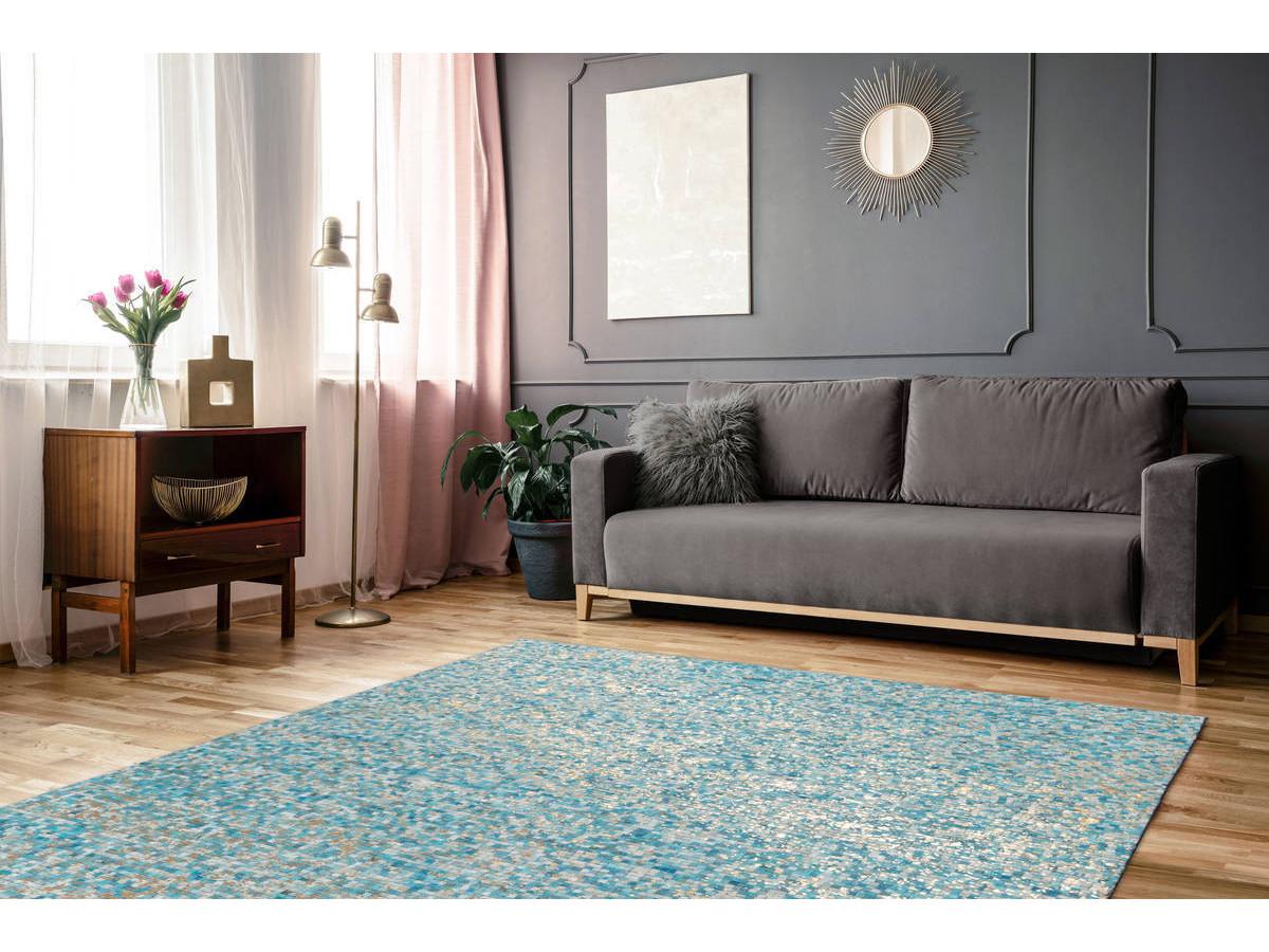 Tapis TORI Turquoise / Doré 80cm x 150cm1