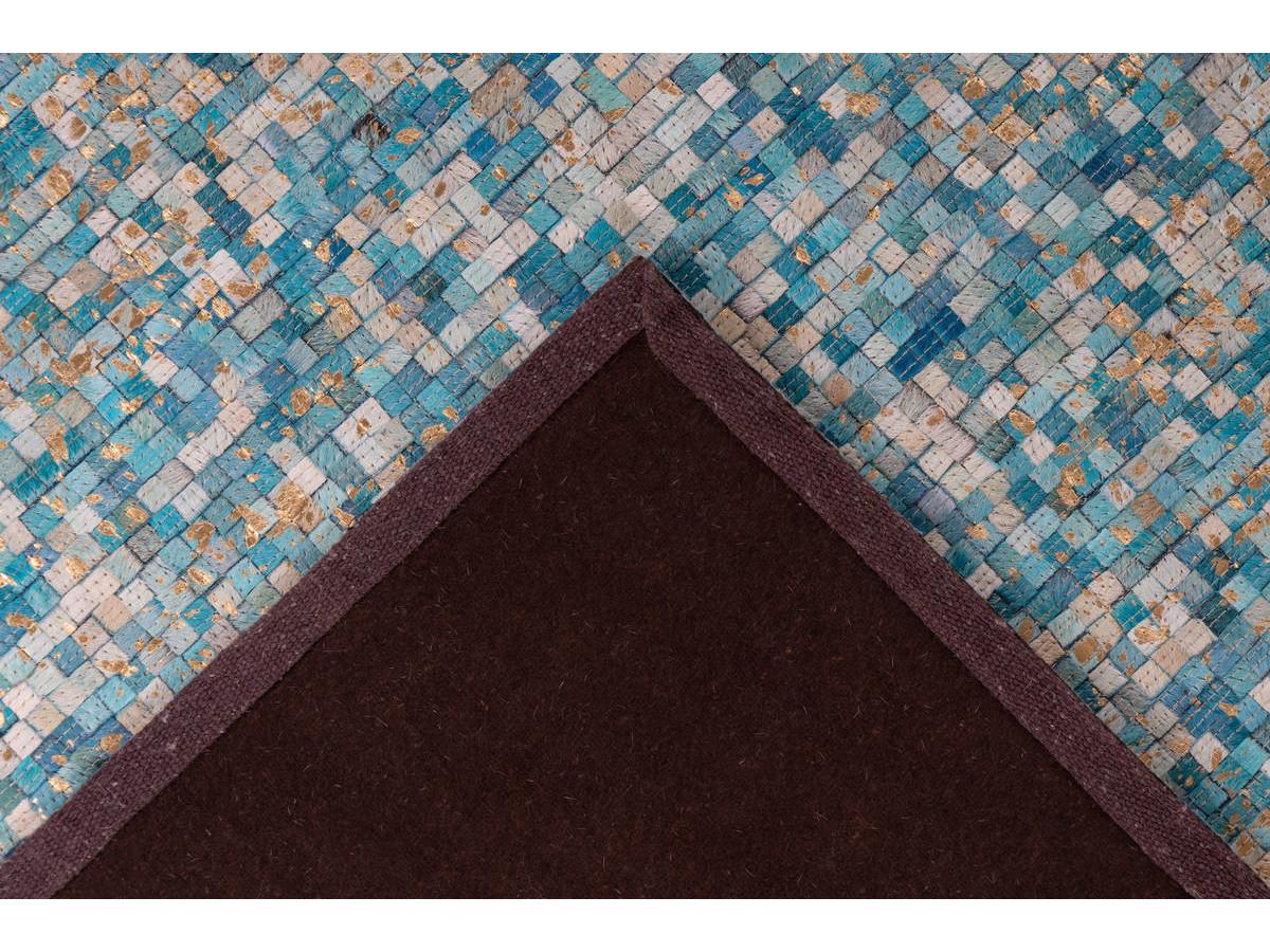 Tapis TORI Turquoise / Doré 80cm x 150cm5