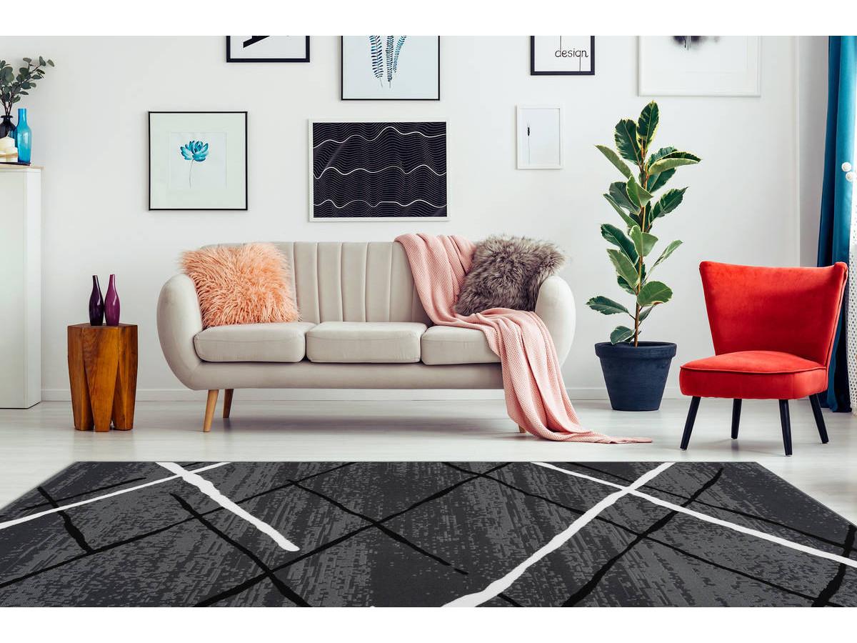Tapis KRISTA Anthracite / Noir / Blanc 200cm x 290cm1