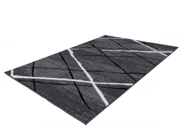 Tapis KRISTA Anthracite / Noir / Blanc 80cm x 150cm