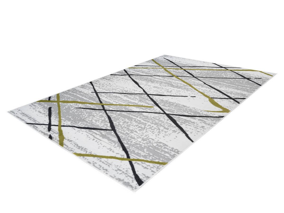 Tapis KRISTA Blanc/ Gris / Kaki 80cm x 150cm