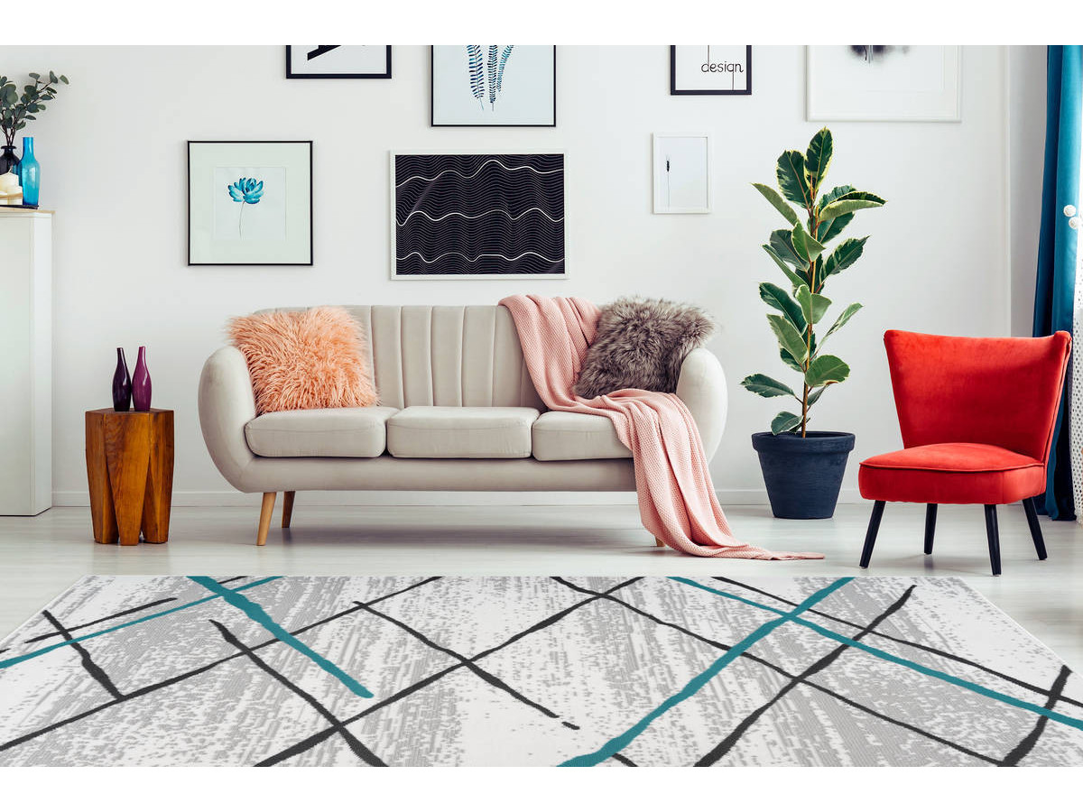 Tapis KRISTA Blanc/ Gris / Turquoise 160cm x 230cm1