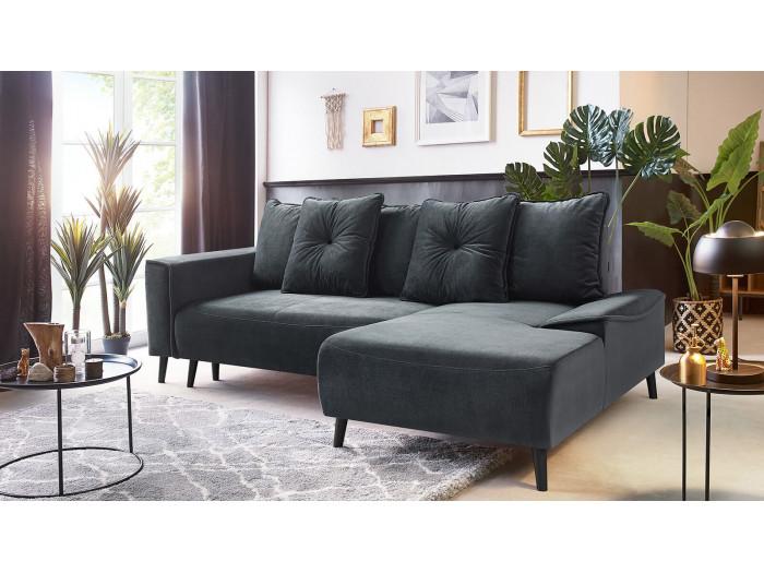 Canapé d'angle convertible HERA pieds noirs