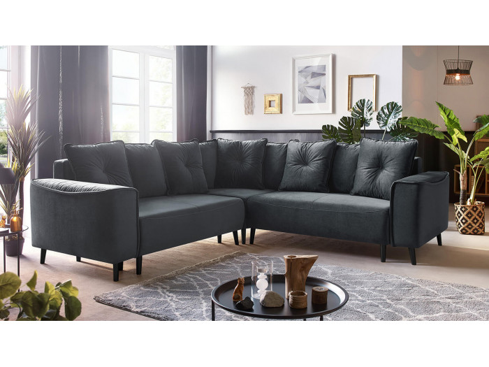 Canape grand angle panoramique convertible pieds noirs HERA