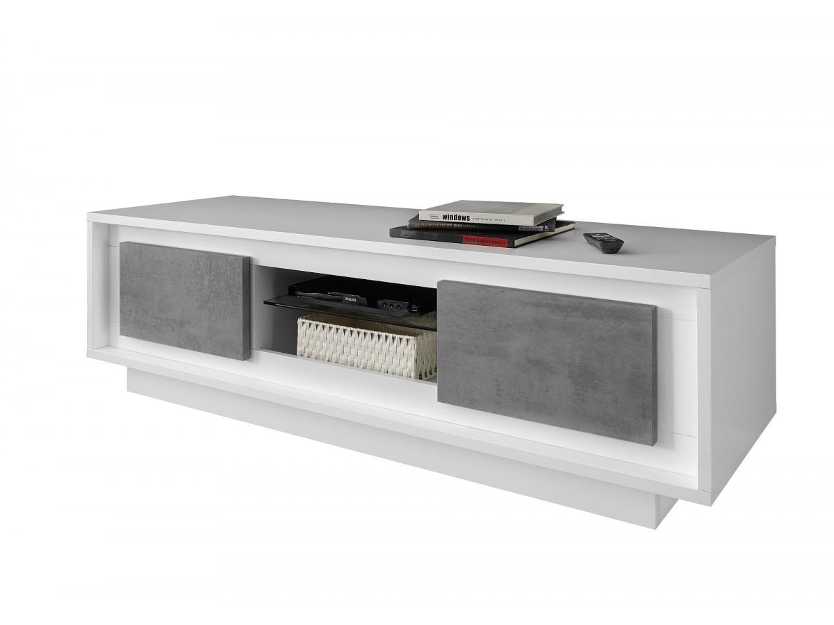 Meuble Tv 115cm 2 Portes Monno Blanc Laque Mat Et Gris Ciment Subleem