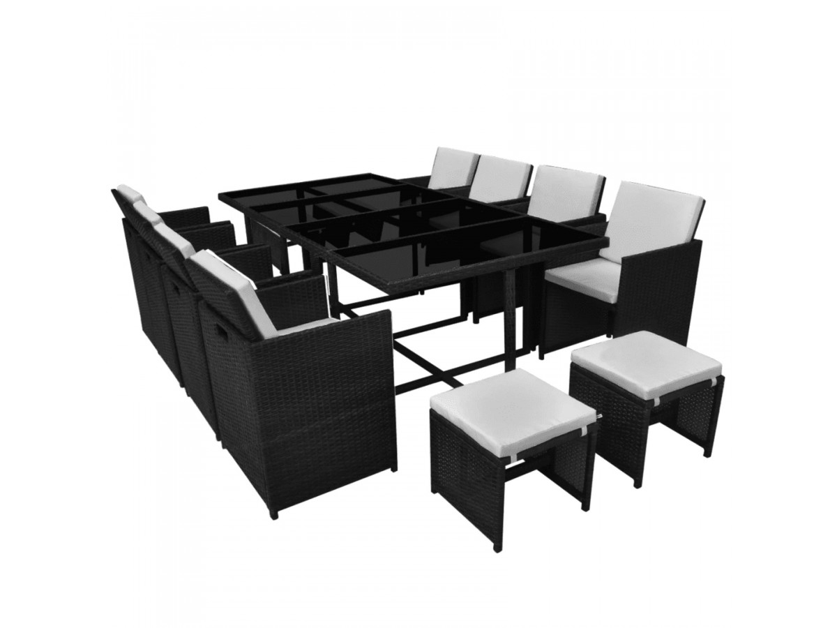 Ensemble table + fauteuils + poufs 12 places noir et crème Maya