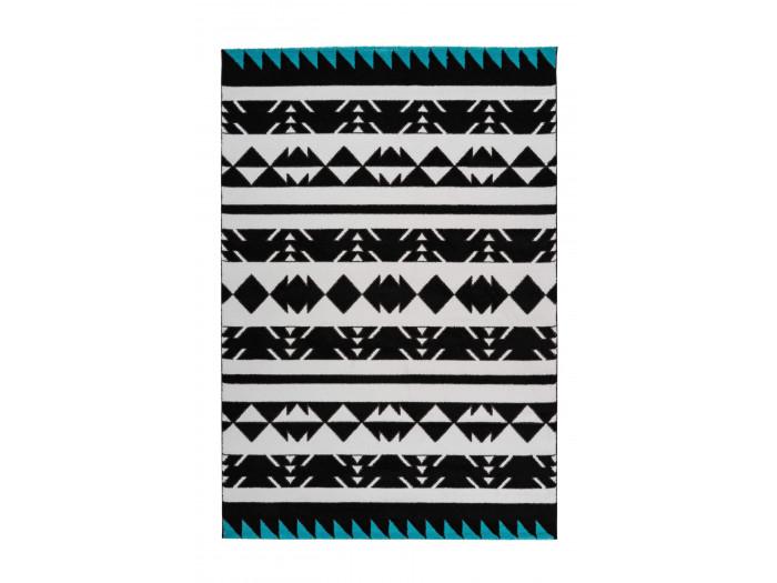 Tapis OMAN Noir / Blanc / Turquoise 160cm x 230cm