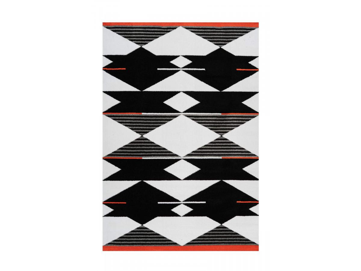 Tapis OMAN Noir / Blanc / Rouge 80cm x 150cm