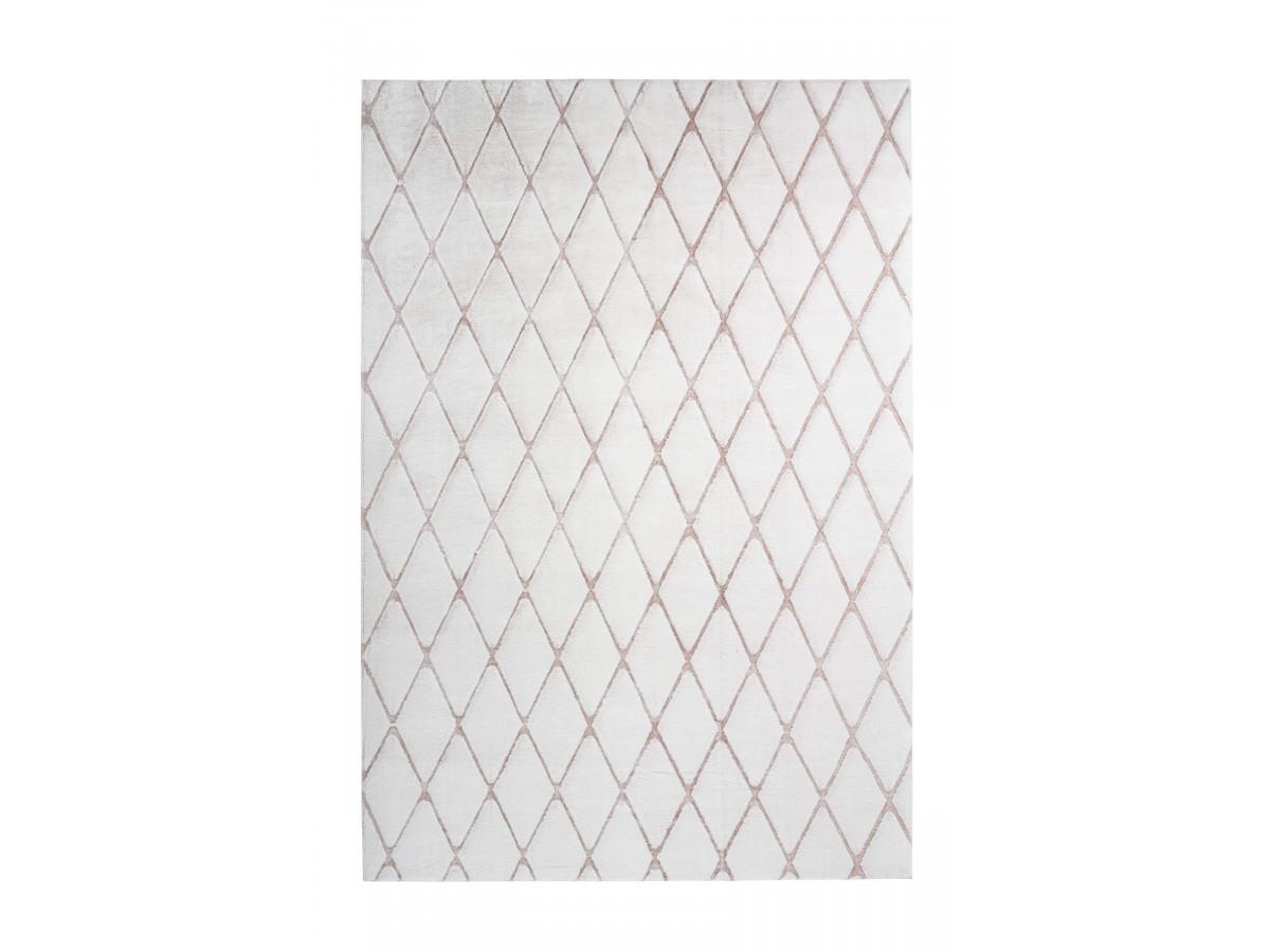 Tapis style berbère BETA blanc motifs en losange