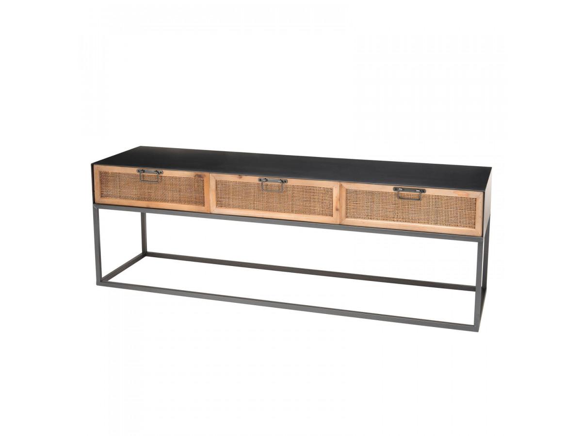 Meuble TV métal 3 tiroirs cannage SATRA