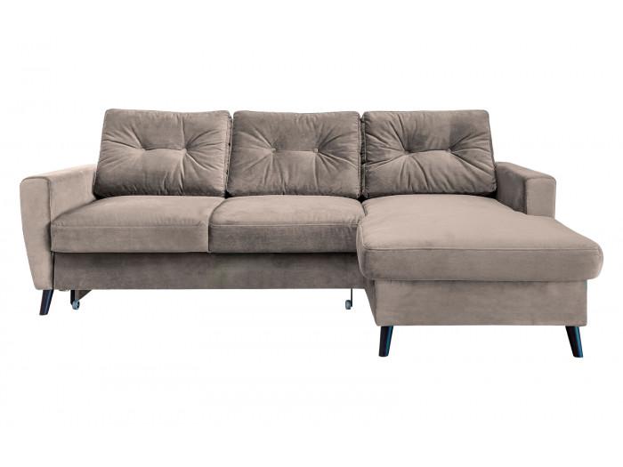 Canapé d'angle convertible coffre velours SCANDI