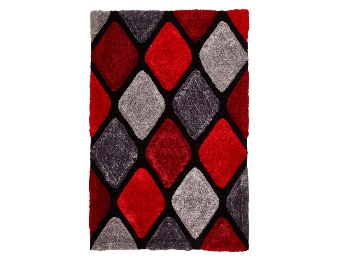 Tapis CHARIS Gris / Rouge 150 x 230