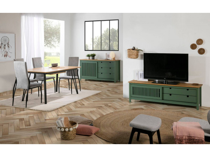 Meuble TV 158 cm CAPRI Vert et Bois clair