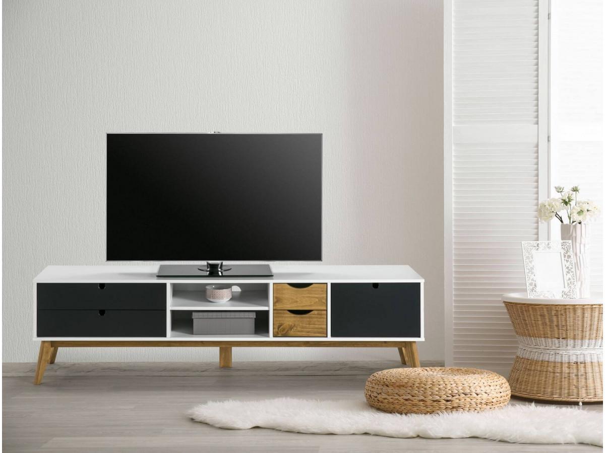 meuble tv 180 cm nils blanc noir et bois clair