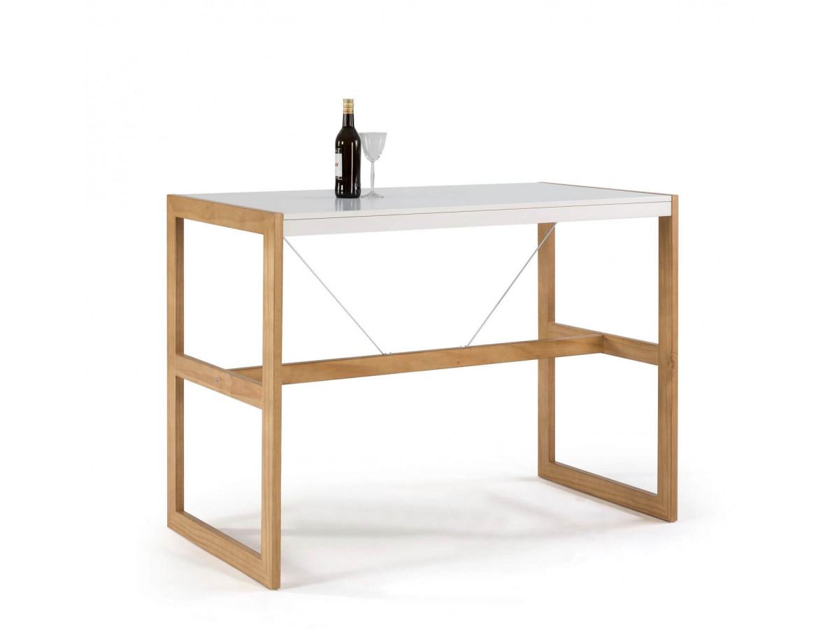 Table bar MIAMI Blanc / Bois clair