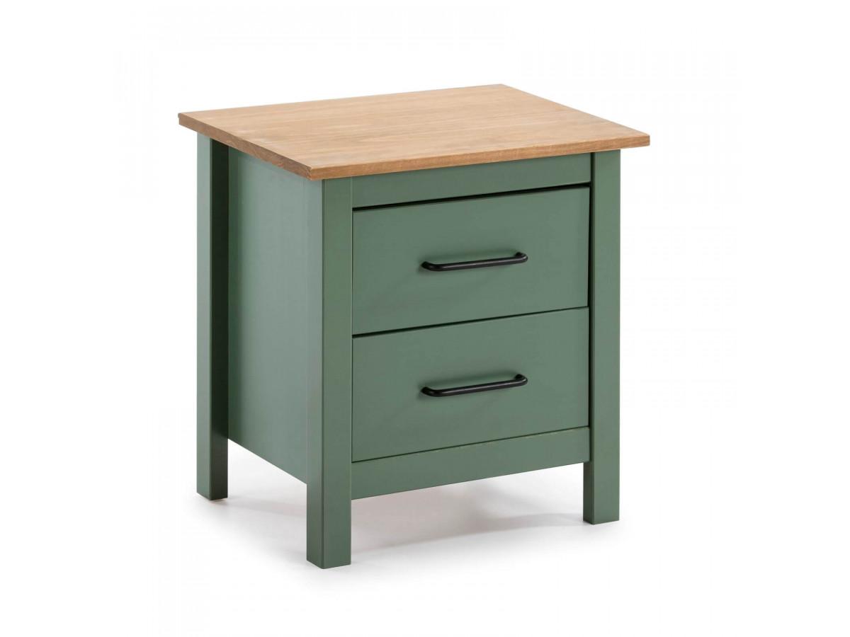 Table de chevet MEGANE Vert et Bois clair
