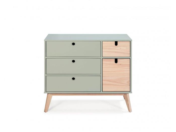 Commode YUGO Vert grisé / bois clair