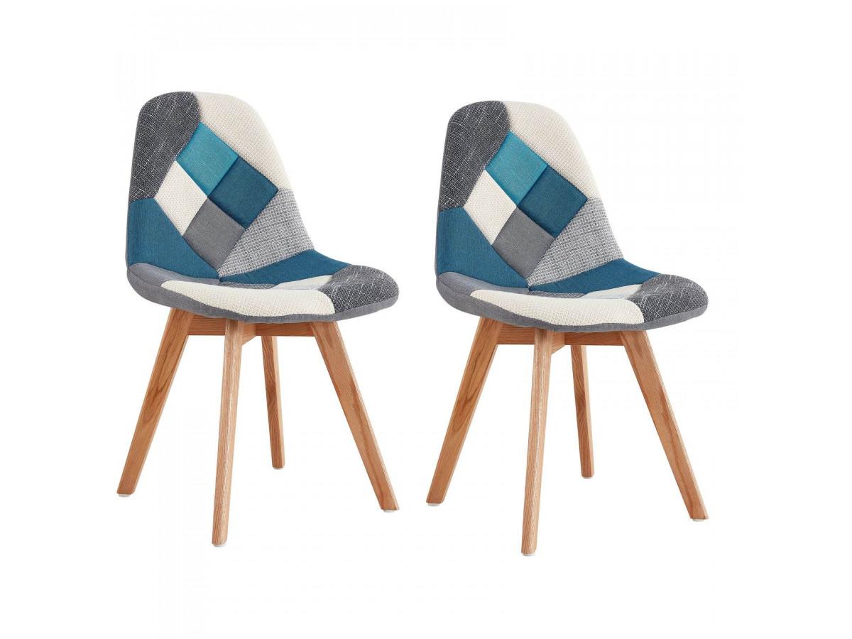Lot de 2 chaises en tissu patchwork multicolore n°1 MARIUS