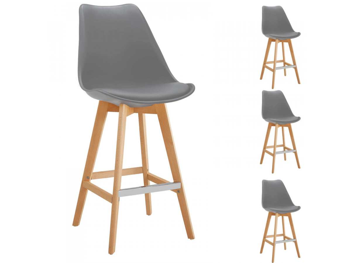 Lot de 4 tabourets de bar MIKADO gris